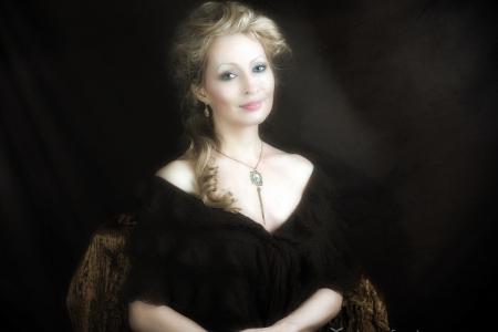 női festmény portré, szőke, elegáns portré, luxus, gazdag